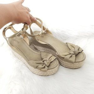 Micheal Kors   Gold Woven Espadrille Wedge Shoes